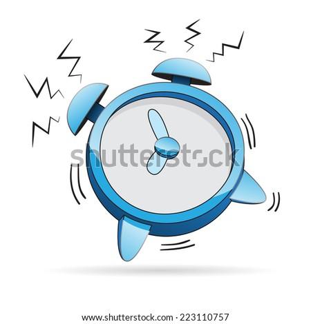 Vector illustration of a cartoon alarm clock ringing. - stock vector