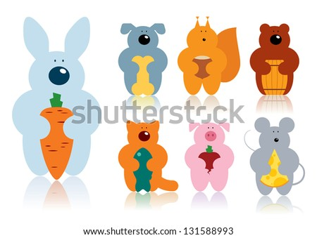 Vector illustration of a cartoon animals with their lovely food. Can be easily colored and used in your design. - stock vector