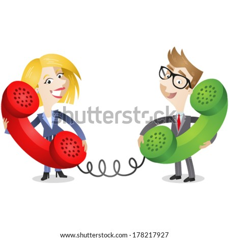 Vector illustration of a cartoon business man and woman talking on huge colorful phones to each other. - stock vector