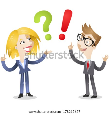 Vector illustration of a cartoon business woman and man pointing at a green question mark and a red exclamation mark. - stock vector