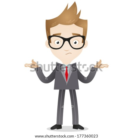Vector illustration of a cartoon businessman looking clueless and shrugging his shoulders. - stock vector