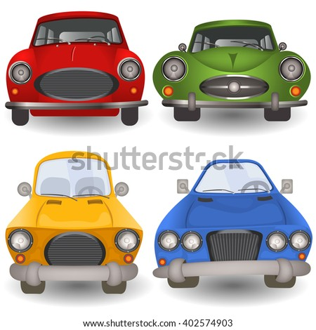 Vector illustration of a cartoon car front view. - stock vector