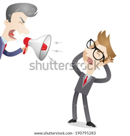 Vector illustration of a cartoon character: Boss yelling through megaphone at his frustrated employee. - stock vector