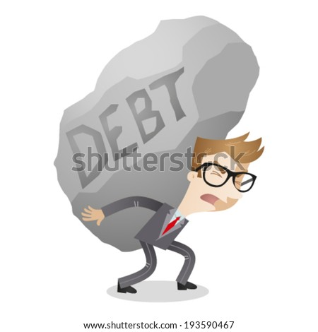 Vector illustration of a cartoon character: Businessman carrying huge rock labeled debt. - stock vector