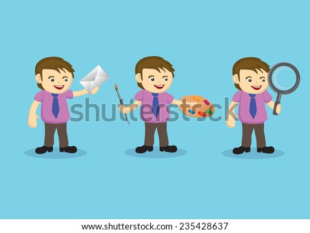 Vector illustration of a cartoon man holding different tools in different jobs - stock vector