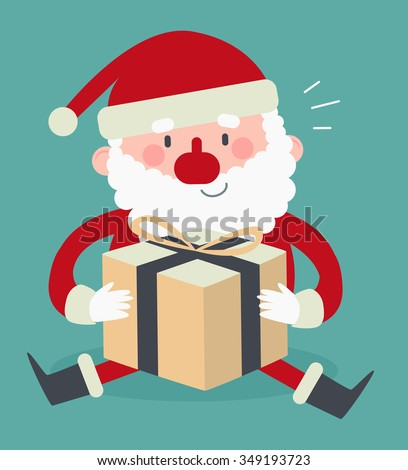 Vector illustration of a cartoon santa sitting and holding a wrapped present. - stock vector