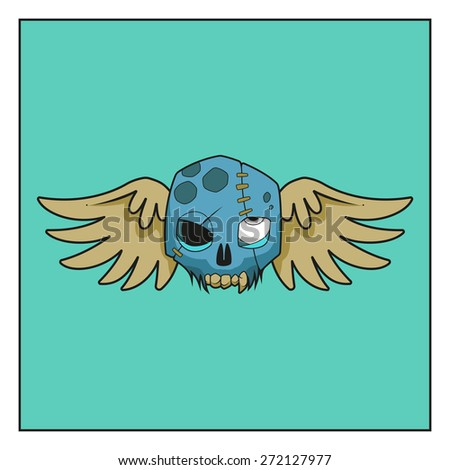 Vector illustration of a cartoon skull with wings - stock vector