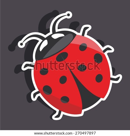 Vector illustration of a cartoon stickers of ladybug - stock vector