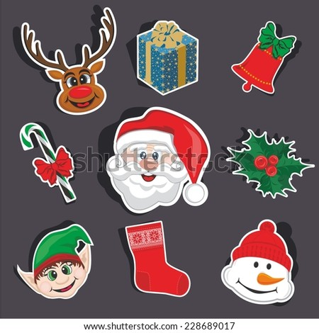 Vector illustration of a cartoon stickers set of isolated christmas object - stock vector