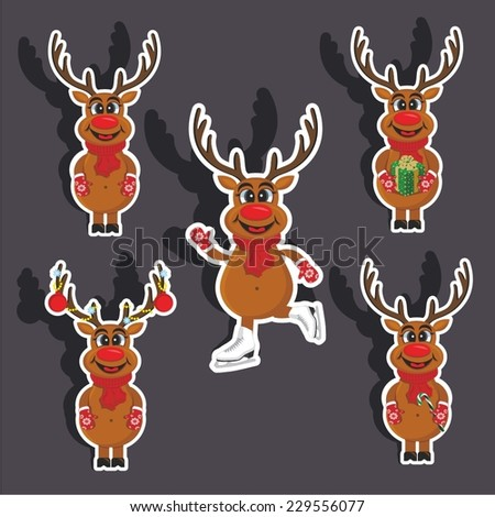 Vector illustration of a cartoon stickers set of isolated christmas object - Santa's deer's - stock vector
