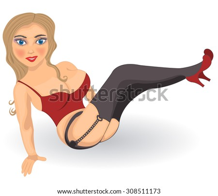 Vector illustration of a cartoon Young girl in high heels. - stock vector