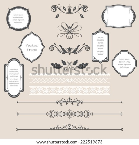 Vector illustration of a chalkboard style design elements for wedding invitations, birthdays, scrapbook - stock vector