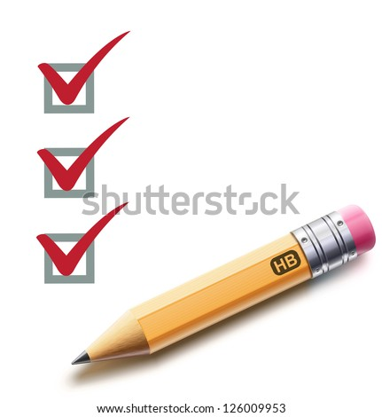 Vector illustration of a checklist with a detailed pencil checking off tasks - stock vector