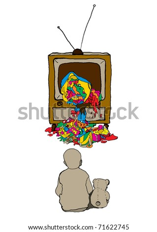 vector illustration of a child in front of TV - stock vector
