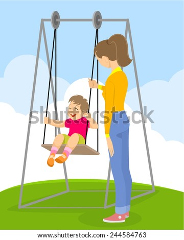 Vector illustration of a  child on a swing - stock vector