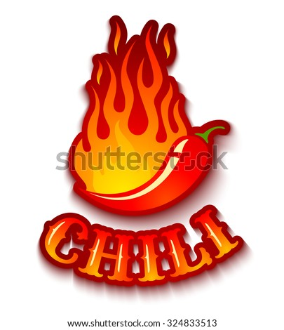 Vector illustration of a chili pepper in fire - stock vector
