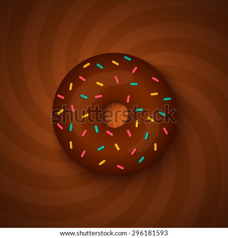 Vector illustration of a chocolate donut on hypnotic background - stock vector