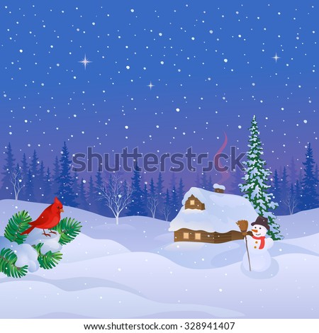 Vector illustration of a Christmas night landscape with a snow covered cabin and fir branch with cardinal bird - stock vector