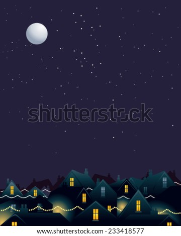 Vector illustration of a city skyline at night with festive Christmas lights under a starry moon lit sky  - stock vector