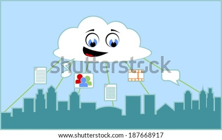 Vector illustration of a city world connected through cloud computing network  - stock vector