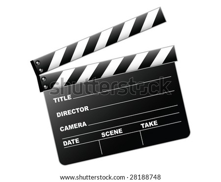 Vector illustration of a clapboard as used by directors - stock vector