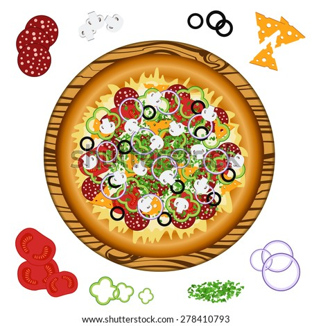 Vector illustration of a classic Italian pizza on a wooden tray on the table and ingredients - sausage, tomatoes, mushrooms, olives, onions, peppers, cheese, greens - stock vector