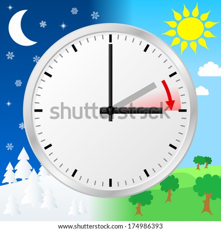 vector illustration of a clock switch to summer time  - stock vector