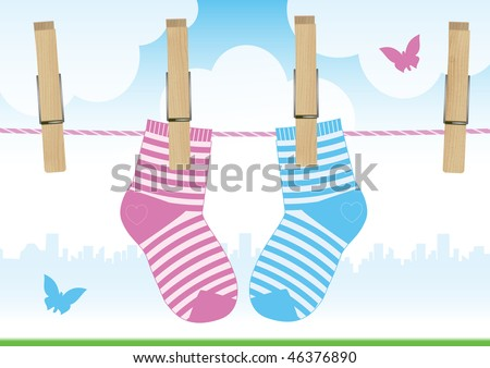 Vector illustration of a clothesline with clothespins and baby socks. - stock vector