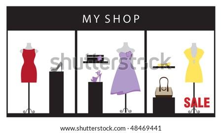 Vector illustration of a clothing store displaying beautiful dresses and accessories. - stock vector