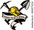 "vector illustration of a coal miner hardhat hat ,shovel or spade and pickax with scroll isolated on white done in retro woodcut style with words ""brothers in arms"" - stock vector"