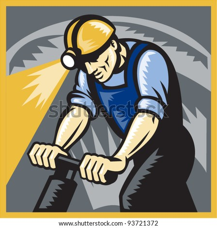 vector illustration of a coal miner working drilling with pneumatic drill in mine shaft done in retro woodcut style. - stock vector