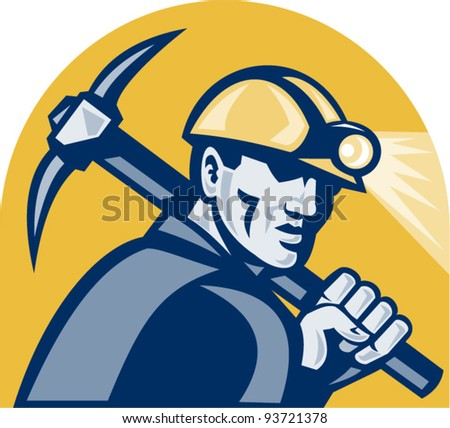 vector illustration of a coal miner working with pickaxe viewed from the side looking front isolated white background done in retro woodcut style. - stock vector