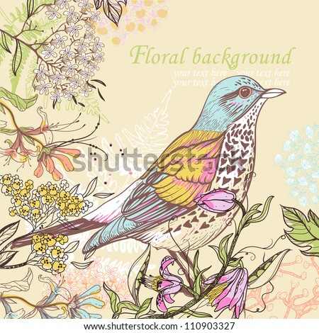 vector illustration of a colorful bird and blooming summer flowers - stock vector