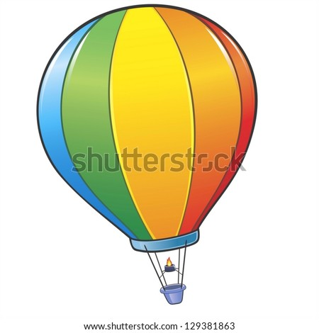 Vector illustration of a colorful cartoon hot air balloon. No radial gradient, transparency, gradient mesh. Created in Adobe Illustrator - stock vector