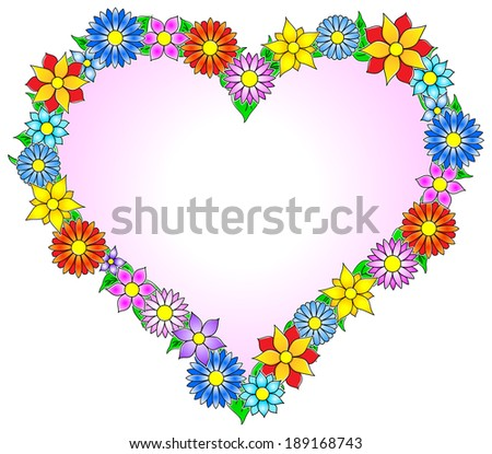 vector illustration of a colorful flower border heart - stock vector