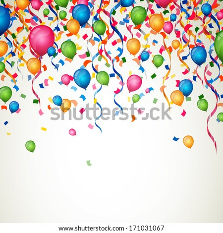Vector Illustration of a Colorful Party Background with Confetti , Curly Ribbons and Balloons - stock vector