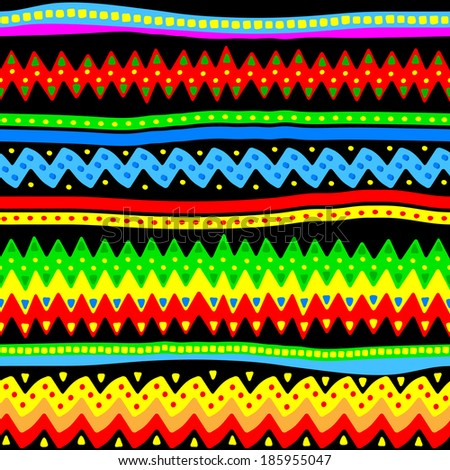 vector illustration of a colorful seamless vector tribal pattern - stock vector