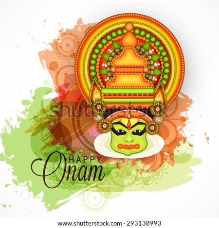 vector illustration of a colourful Kathakali face with heavy crown decorated with pearls and stone on grungy colorful background for Onam celebration. - stock vector