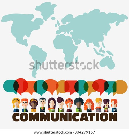 "Vector illustration of a communication concept. People icons with colorful dialog speech bubbles over the word ""communication"". World map background. Flat modern design style - stock vector"