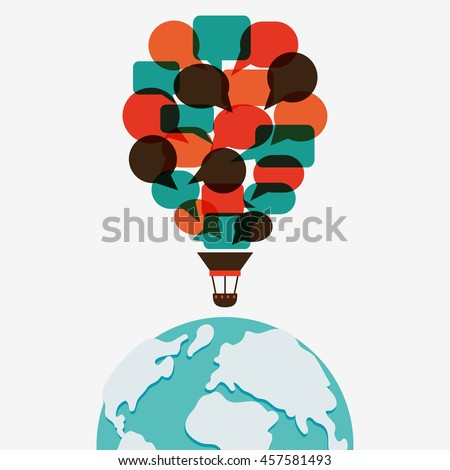 "Vector illustration of a communication concept with inscription: ""Your language travel starts here"". Hot air balloon made of speech bubbles over world map - stock vector"