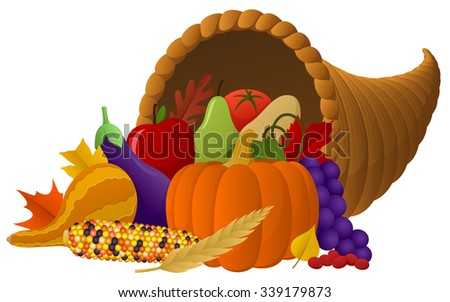 Vector illustration of a cornucopia overflowing with autumn fruit and vegetables. - stock vector