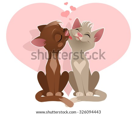 Vector illustration of a couple of lovers of cats - stock vector