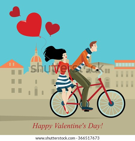 vector illustration of a couple on a bicycle in the city center, greeting card for Valentine's Day in a cartoon style - stock vector