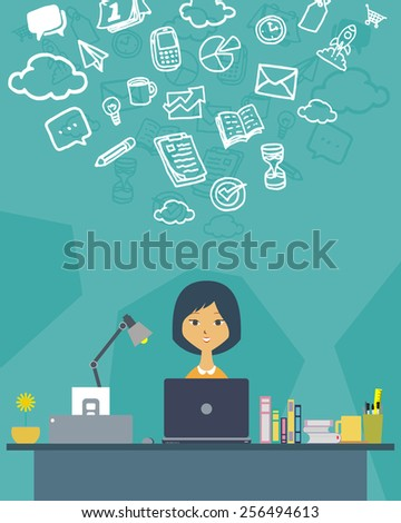 vector illustration of a creative women on his desk working as a copywriter - stock vector