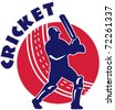 vector illustration of a cricket batsman batting front view with ball in background done in retro style - stock vector