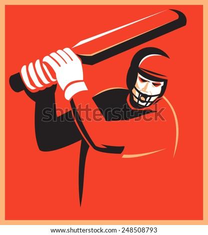 vector illustration of a cricket player batsman batting set inside square done on retro style - stock vector