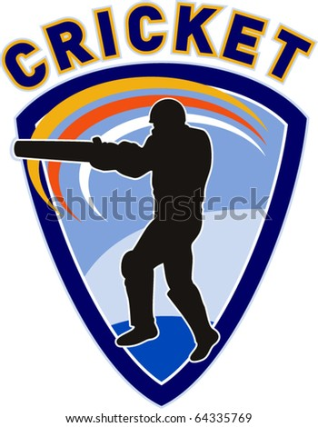 "vector illustration of a cricket sports player batsman silhouette batting set inside shield with words ""cricket"" - stock vector"