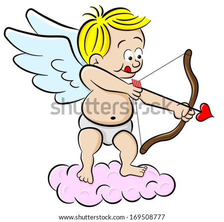 vector illustration of a cupid with bow and arrow - stock vector