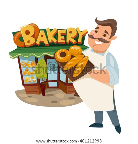 Vector illustration of a cute baker standing near a bakery. Bakery shop. Exterior design.  - stock vector