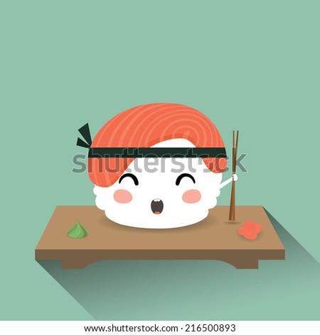 Vector illustration of a cute cartoon sushi. Japanese food. Nigiri sush. Eps 10 - stock vector